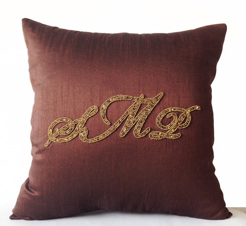 Handmade, customized monogrammed brown throw pillow covers with embroidery
