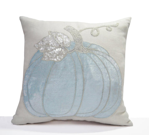 Blue Pumpkin Throw Pillow Cover