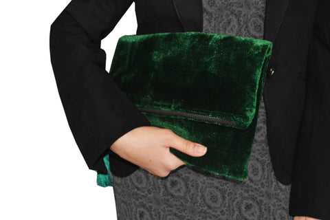 Velvet Clutch, Emerald Green Foldover Bag