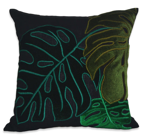 Tropical leaves Pillow Cover, Monstera Leaves Pillow Cover, Linen Pillowcase, Velvet Pillow