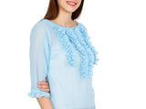 Blue Georgette Long Sleeves Sheer Ruffle Blouse