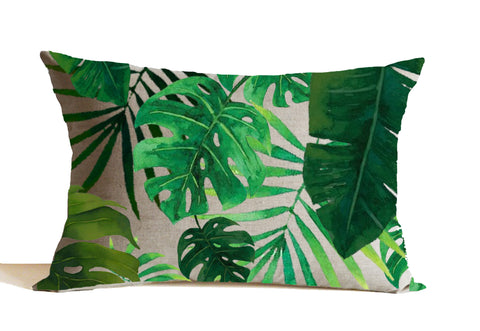Amore Beaute emerald green leaves printed pillow cover in linen