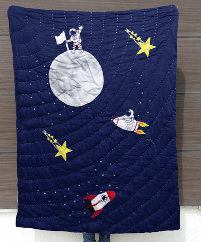 Space Quilt, Astronaut Quilt, Toddler Bedding Boys