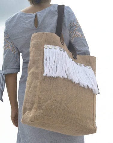 Leather Strap Burlap Tote Bag, Large Handbag For Women, Shaggy Tote Fringe