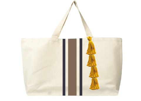 Handmade cotton oversize tote bag with stripes and tassels