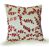 Ivory silk throw pillow with red sequins beads floral design