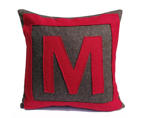 Personalized Felt Monogram Pillow Cover, Large Block Letter Pillow Case