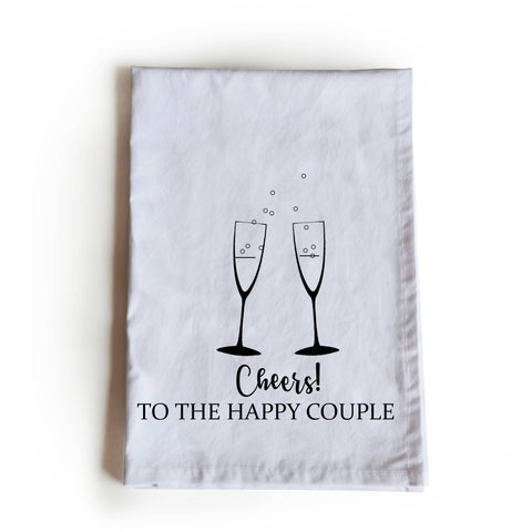 Cheers to happy couple printed cotton tea towel, kitchen linen, dish cloth