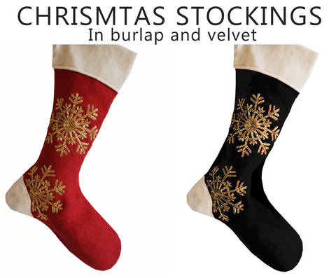 Burlap and velvet Christmas stockings