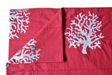 Handcrafted designer throw blanket with coral embroidery