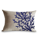 Linen throw pillow case with coral embroidery