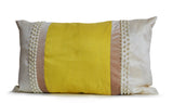 Handmade ivory yellow silk velvet throw pillow