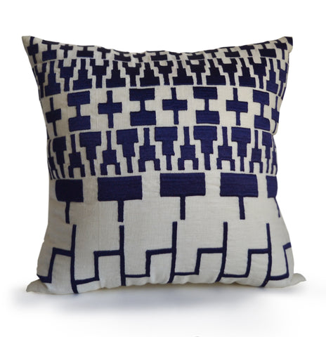 Handmade navy blue personalized tribal pillow
