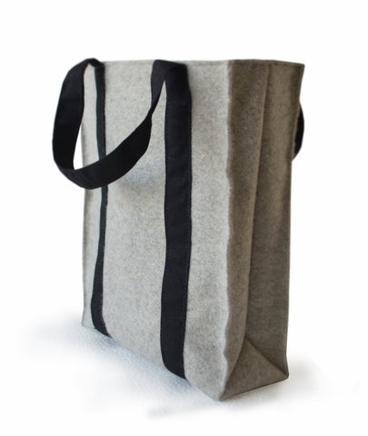 Handmade large gray Valentine's day tote bag