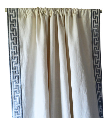 Ivory Linen Curtains With Grey Greek Key Embroidery