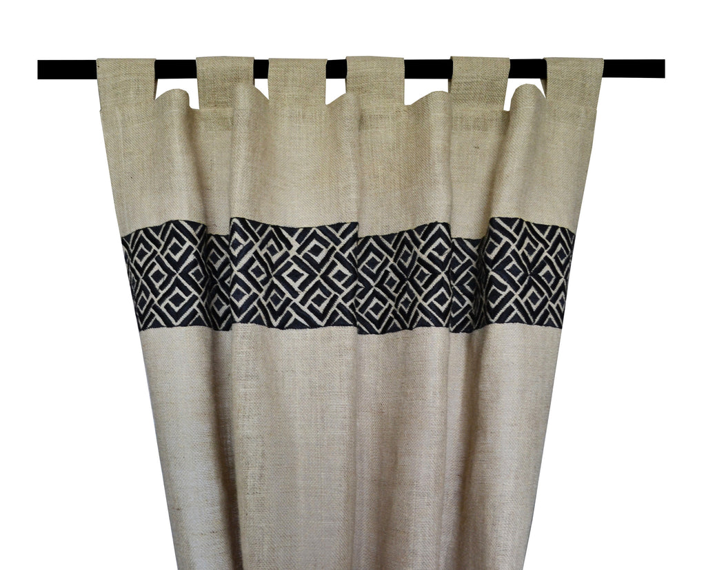 Burlap window treatments - Handcrafted And Embroidered Burlap Curtains And Drapes