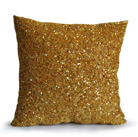 Handcrafted gold sequin pillow with personalized message