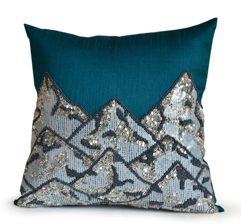 Handmade teal silk throw pillow cover with snow covered mountain design