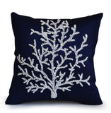 Handmade blue throw pillow cover with coral beads