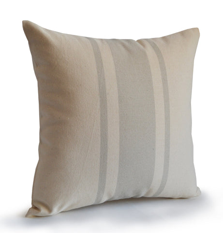 Handmade neutral colored striped throw pillow in organic cotton