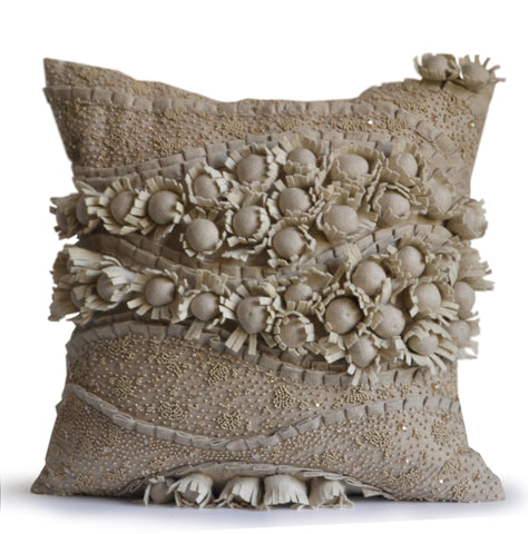 Handmade cotton floral throw pillow with beads