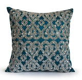 Handmade sparkling teal throw pillow with sequin