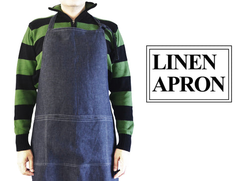 Cooking Apron For Men In Denim Blue Linen
