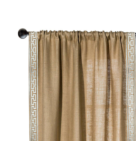 Rustic Chic Greek Embroidery Burlap/Jute Window Curtain/Drape