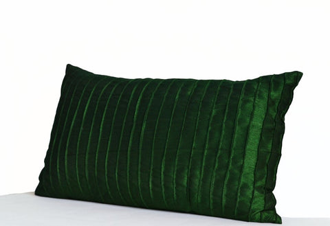 Emerald Green Pintuck Silk Pillow Cover, Textured Pillow Case