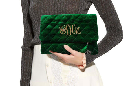 Personalized Velvet Purse, Quilted Pouch, Evening Clutch