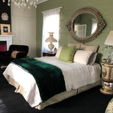 Emerald Green Velvet  Quilt, Pick Stitch Bedspread, Soft Plush Blanket