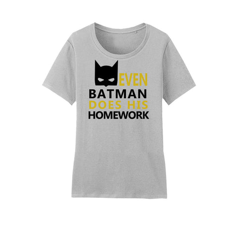 Amore Beaute Cotton T-Shirt with Even Batman Does His Homework Printed on It