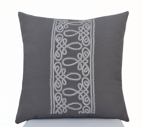 Handcrafted Frech Cord Embroidery Throw Pillow