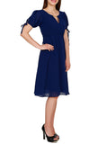 Navy Blue Georgette Midi Dress