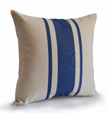 Handmade Blue Grain Sack Throw Pillow Cover -Geometric Pillow Cover -Stripe Pillow Cover