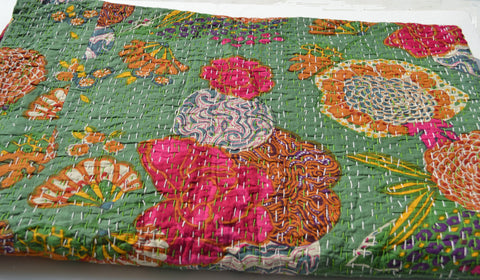 Green floral print queensize blankets and bedding