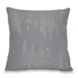 Grey Ivory Linen Throw Pillow Cover With Glass Beads -Mother Of Pearl Pillow Cover