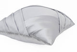 Amore Beaute Handcrafted Grey Satin Pleats Pillow Cover With Pleats