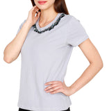 Amore Beaute Handmade Gray Sequin Embellished Casual Cotton T-Shirt