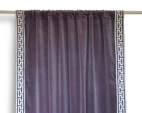 Customizable Handmade Cotton Velvet Curtain with Greek Key Embroidery
