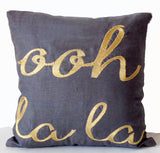 Gray Linen Throw Pillow Cover with Gold Ooh La La Embroidery