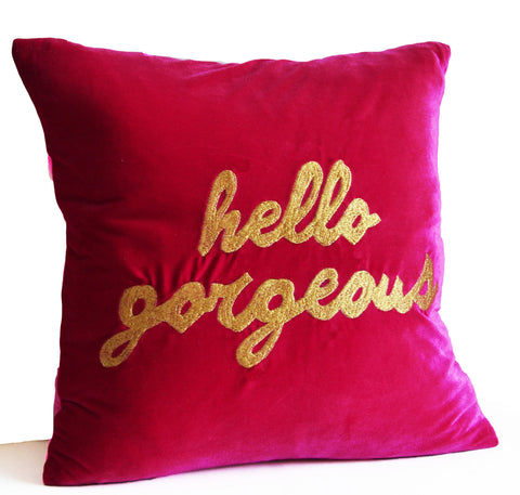 Hello gorgeous hand embroidered decorative throw pillow cover