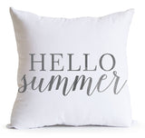 Hello Summer Calligraphic Linen Throw Pillow Cover -Summer Decor