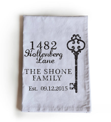 Custom Home Address Printed Cotton Tea Towel, Housewarming Gift