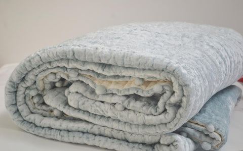 Blue Gray Velvet Cotton Quilt