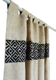 Handcrafted and embroidered burlap curtains and drapes