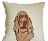 Handmade felt throw pillow with bloodhound dog design