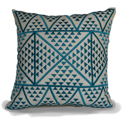 Handmade blue ivory linen pillow with Aztec design
