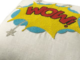 Pop Art Pillow Cover, WOW Linen Pillow, Pop Art Comic Book Action Words