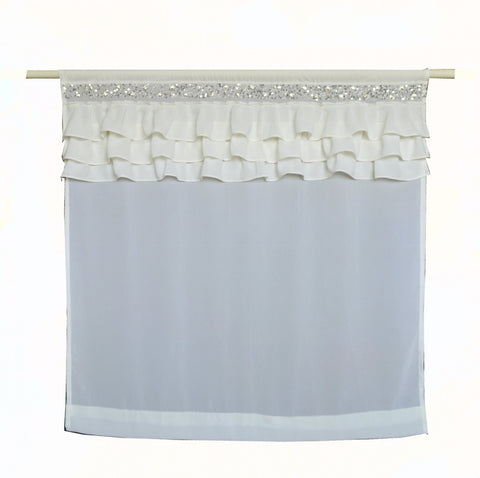 Ivory Ruffle Georgette Sheer Curtains -Crystal Chic Luxury Ruffled Curtain Panel -Dorm Decor